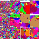 : Orientation image micrographs (OIM) and Individual grain images (IGI) of selected samples: Bottom, middle and top positions of corner and centre blocks from one of the reference non-seeded ingots (V